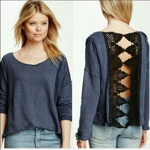 Blue Free People Oversized Top w Lace Ribbon Back